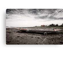 Ecuadorian Fishing Raft - Black and White Canvas Print