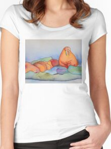 Warm Walrus Contemplating Cool Wishes Women's Fitted Scoop T-Shirt