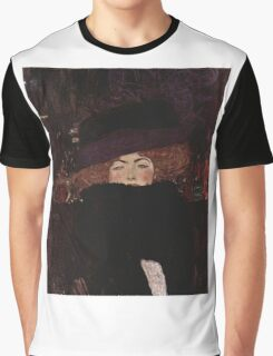 Klimt Lady with Hat and Feather Boa Graphic T-Shirt