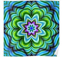 Kaleidoscope Fantasy Flower fractal art Poster