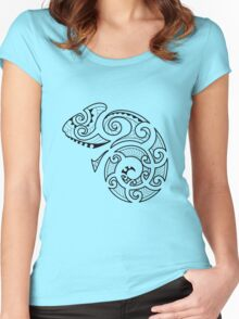 Maori Camouflaged Chameleon B/W  Women's Fitted Scoop T-Shirt