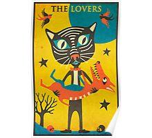 Tarot Card Cat: The Lovers Poster