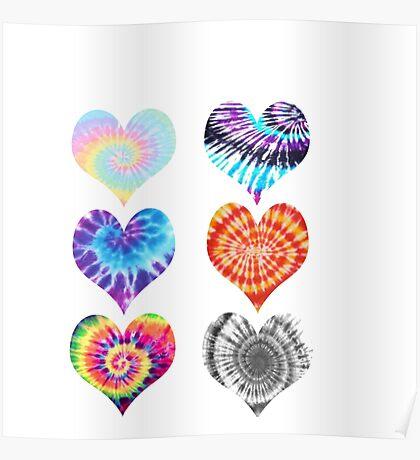 Tie Dye Hearts Poster