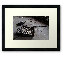 White Thread on Spindles Framed Print
