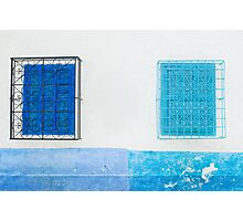 Pale Blue and Light Blue Shuttered Windows Photographic Print
