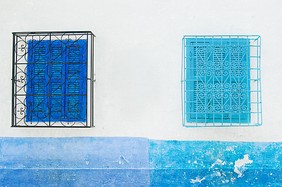 Pale Blue and Light Blue Shuttered Windows by eyeshoot