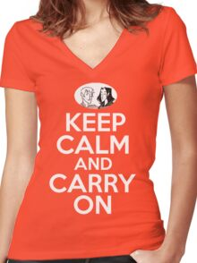 Keep Calm and Carry On, Simon Snow Women's Fitted V-Neck T-Shirt