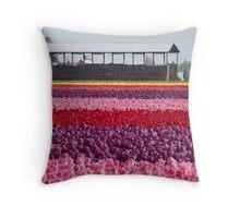 A Rainbow of Tulips Throw Pillow