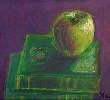 Apple and Books (pastel) by Niki Hilsabeck