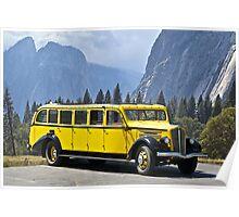 1937 White Touring Bus/Yosemite Poster