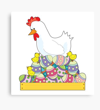Chicken Easter Eggs Canvas Print