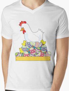 Chicken Easter Eggs Mens V-Neck T-Shirt