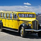 1937 White Touring Bus/Rocky Mountains by DaveKoontz