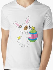 Cute Puppy Bunny Suit Mens V-Neck T-Shirt