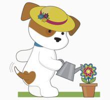 Cute Puppy Plant One Piece - Short Sleeve