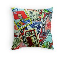 Vintage matchbox Covers Random Collage  Throw Pillow