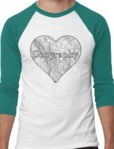 Geography Heart Men's Baseball ¾ T-Shirt