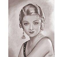 Myrna Loy Sepia Photographic Print