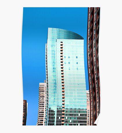 Skyscraper Blue Poster
