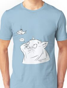 A cat and its fish Unisex T-Shirt
