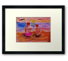 Solatude as the sun is setting, watercolor Framed Print