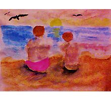 Solatude as the sun is setting, watercolor Photographic Print