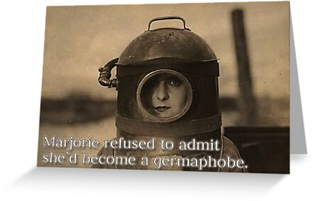 Novelty Greeting Card - Retro Woman in Diving Mask - Germaphobe by traciv