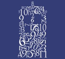 TARDIS in Numbers (White) by JellyDesigns