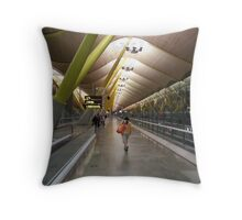 Off The Plane In Madrid Throw Pillow