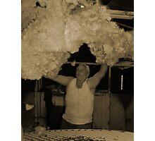 Sheep Shearer throws wool Photographic Print