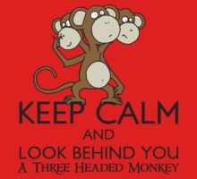 Keep Calm & Look Behind You A Three Headed Monkey Kids Clothes