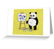 Pandas paint colorful pictures. Greeting Card
