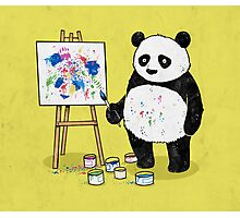 Pandas paint colorful pictures. Photographic Print