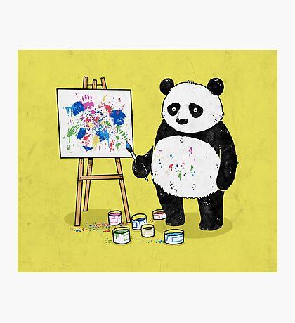 Pandas paint colorful pictures. Photographic Print