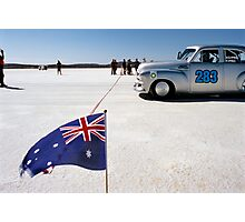 1954 FJ Holden on the salt Photographic Print