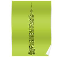 'Wordy Structures' Taipei 101 Green Poster