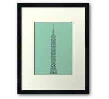 'Wordy Structures' Taipei 101 Blue Framed Print