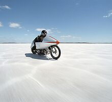 Suzuki Gt 750 at full throttle on the salt by Frank Kletschkus