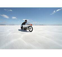 Suzuki Gt 750 at full throttle on the salt Photographic Print