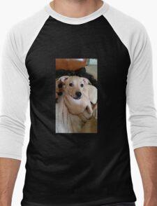 Pretty Posing Puppy Men's Baseball ¾ T-Shirt