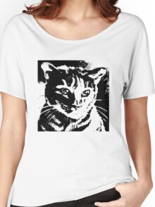 Cool Cat Graphic ~ Black  Women's Relaxed Fit T-Shirt
