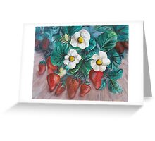 White blossom strawberries Greeting Card