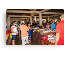 Fish Market Activity - Playas, Ecuador Canvas Print