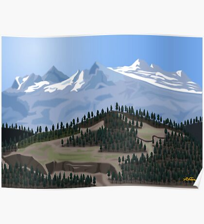 MOUNTAIN WITH TREES Poster