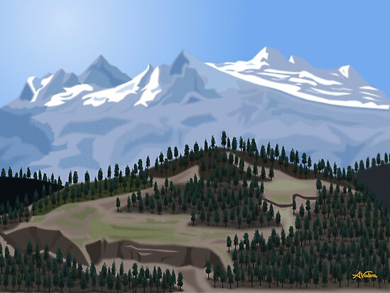 MOUNTAIN WITH TREES by ALVALERA