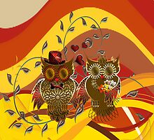 Owls - just married by harietteh