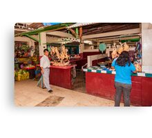 Chicken Shops at the Mercado - Playas, Ecuador Canvas Print