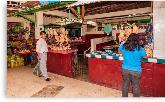 Chicken Shops at the Mercado - Playas, Ecuador by Paul Wolf