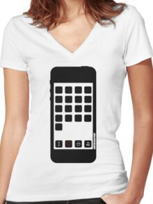 I Love House Music B&W Women's Fitted V-Neck T-Shirt