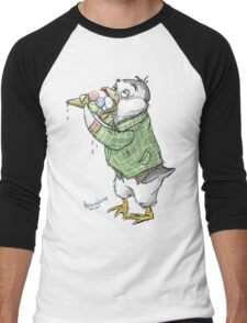 Grunge penguin taking an ice cool break. Men's Baseball ¾ T-Shirt